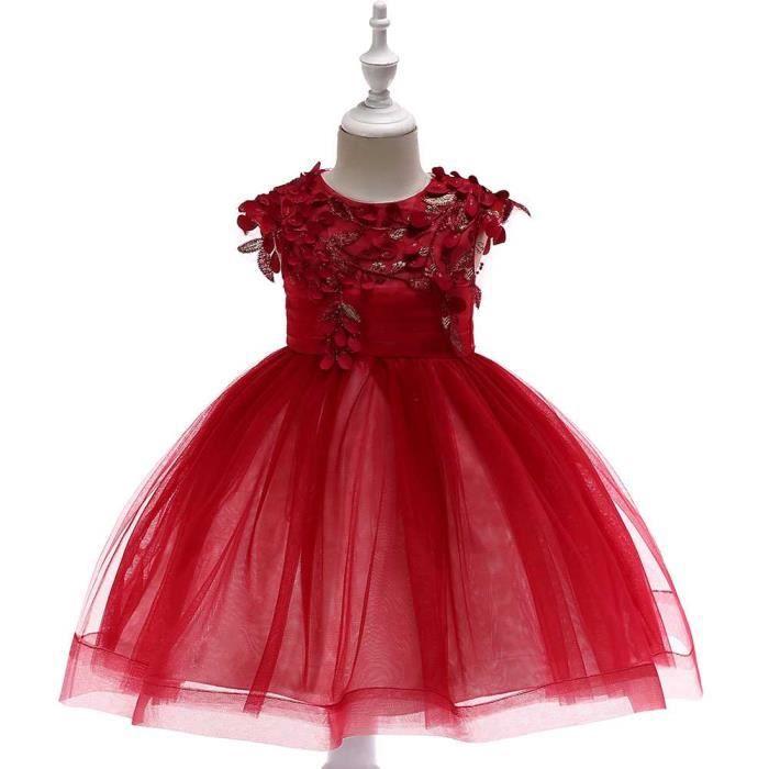 bca58df0c29 Robe de Soirée Fille Enfant de Costume de Princesse Robe Rouge Dentelle  Noël Costumes - 45