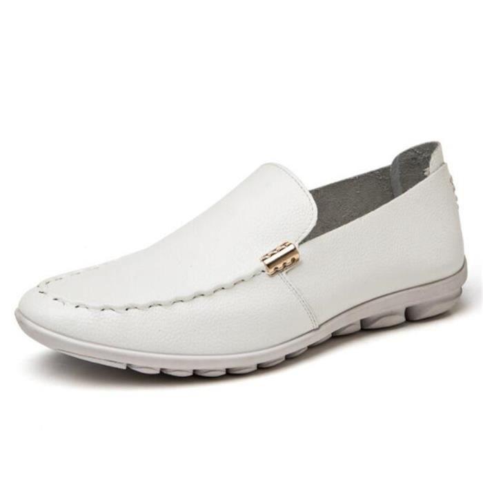 Ete Mocassin Chaussures DTG Mode XZ75Blanc42 Comfortable Hommes Detente 55rXg