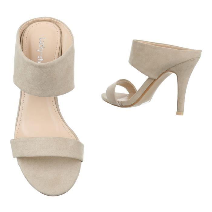 femme sandalette chaussure escarpin Chaussures de soirée Élégant Fête Club High-Heel Peep-toe Beige