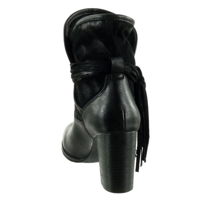 Angkorly - Chaussure Mode Bottine cavalier bi-matière souple femme frange multi-bride grainé Talon haut bloc 9.5 CM - Intérieur 9tOUwAYxb