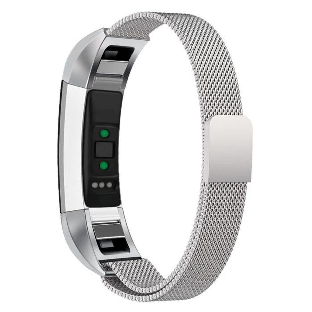 le dernier 2b99a c0d1f Fitbit Alta HR.aux femmes bracelet montre remplacement acier inoxydable  milanais métal argent élégant
