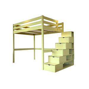 lit mezzanine avec escalier achat vente pas cher. Black Bedroom Furniture Sets. Home Design Ideas