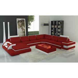 CANAPÉ - SOFA - DIVAN Canapé panoramique cuir rouge et blanc design avec