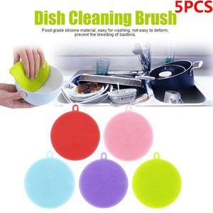 ÉPONGE VAISSELLE 5pcs Lave-vaisselle en silicone nettoyant éponge n