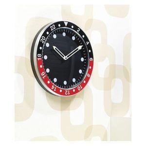 Horloge murale design rouge et noire achat vente for Horloge murale design rouge