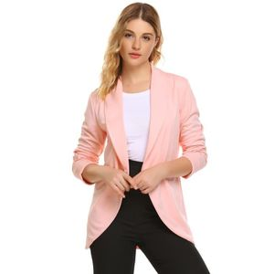 Womens Shawl Collar Rolled Up Sleeve Open Front Casual Cardigan