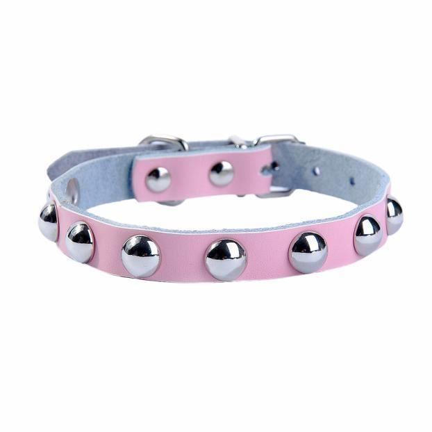 Ajustable En Cuir Rivet Clouté Pet Puppy Champignon Collier Pour Chien Pk - L Collar468