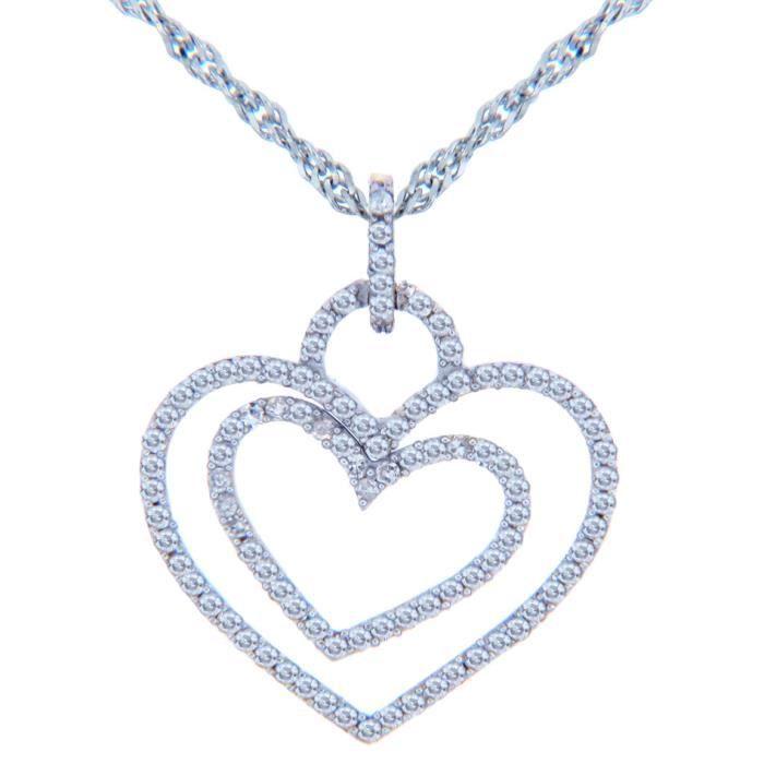 Pendentif14 ct Or 585/1000 Valentines Diamants Cœur spécialor blanc-Cœur-Pendentif doubles Diamants AVEC