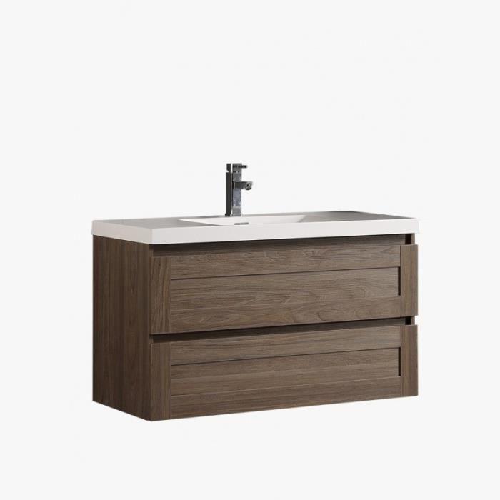 Meuble sous vasque salle de bain suspendu 2 tiroirs 100cm meuble sdbl100 x p46 x h55 cm couleur - Meuble de salle de bain en 100 cm ...