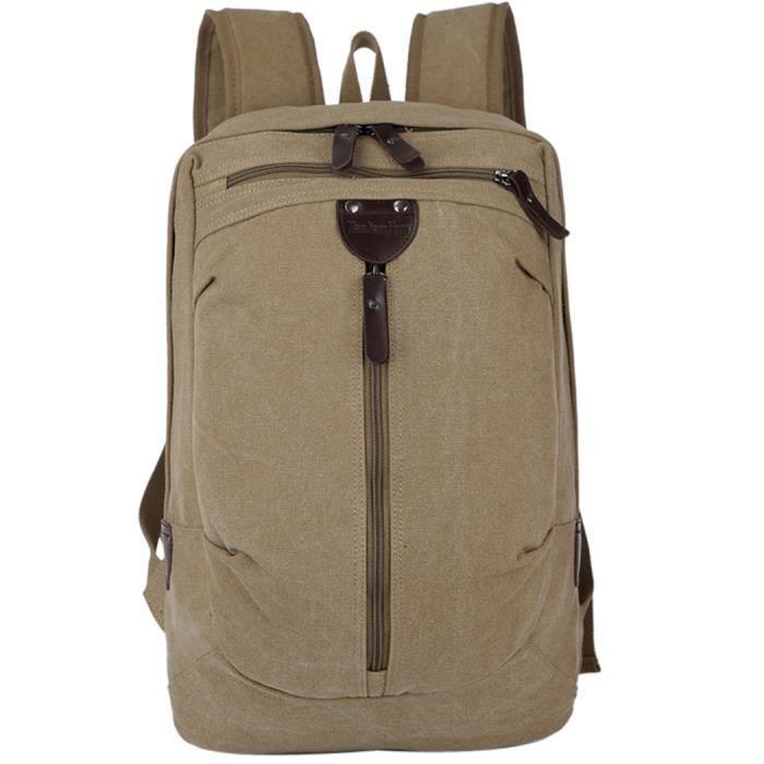 multipocket sac à dos en toile, sac à dos de voyage Coofit sac à dos pour ordinateur portable sac à dos pour hommes garçons (kaki)
