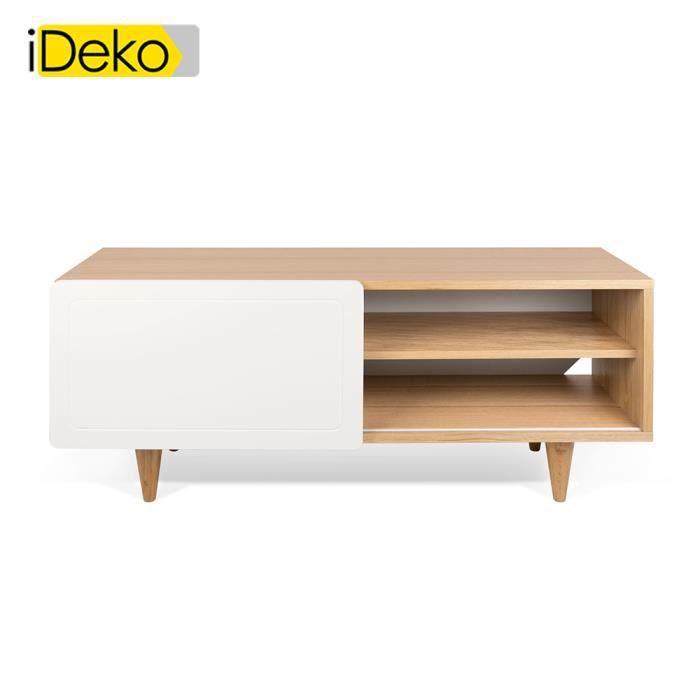 IDeko Meuble TV plaqué chªne et porte coulissante blanc mat L 120 cm