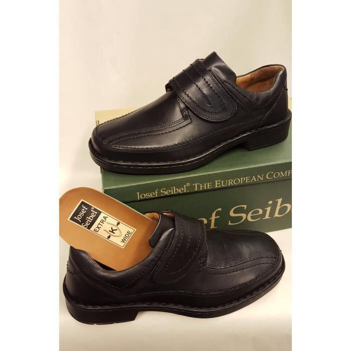 Chaussures cuir noir velcro, grandes largeur ,confort ,souplesse ... 3af8de33477a
