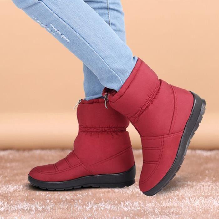 Bottes rouges imperméables et anti-glissantes de longueur courte pour Femme