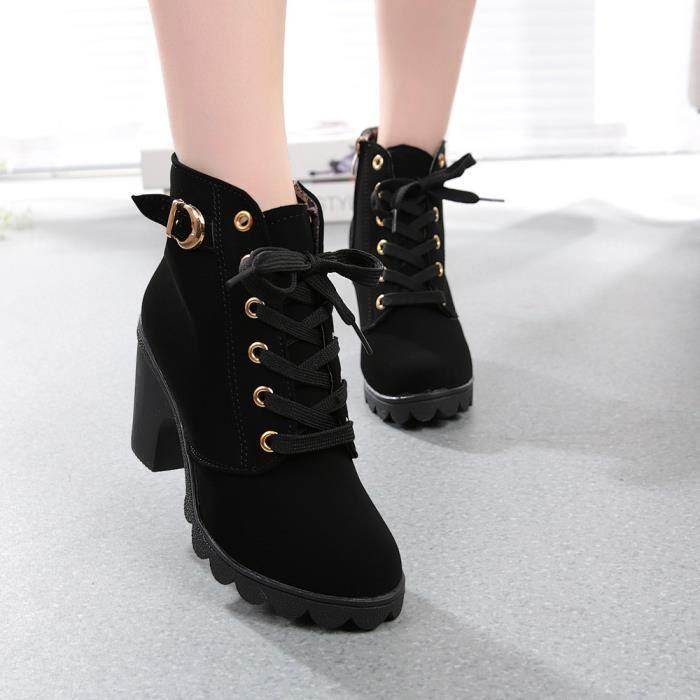Haute couture talons cheville bottes bottes de dentelle de la femme boucle plate-forme chaussures mxQF1W47