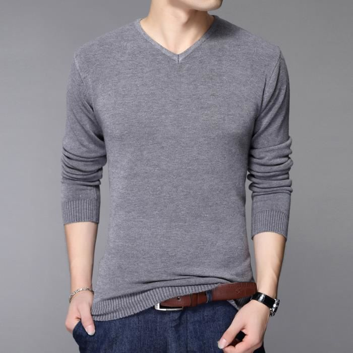0bed6a835a77 Pull Homme Noir Manche Longue Tricot Pour Pullover Homme V-cou Slim Fit  Pull Homme Marque Luxe