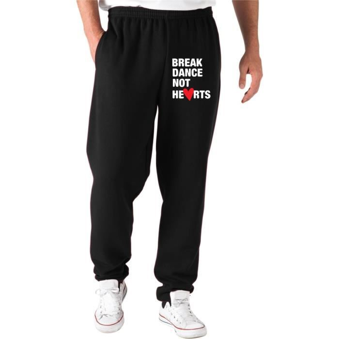 Pantalons de Survetement TLOVE0092 break dance not hearts logo Noir ... d1b503082a6