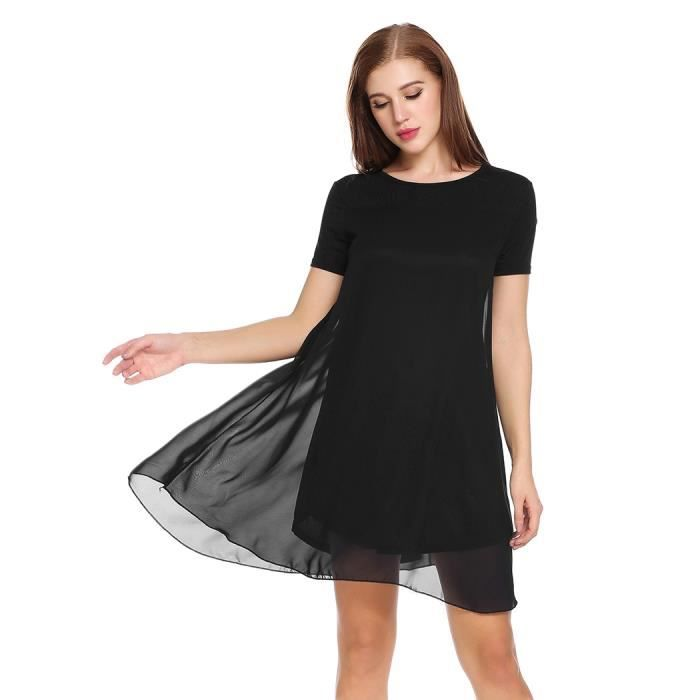 en soie manches Casual de Femmes Fit Robe Loose courtes mousseline 7pSx7qT