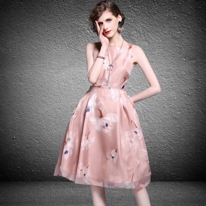 Femmes doux nœud papillon robe rose femme élégance élégante robe de soirée florale