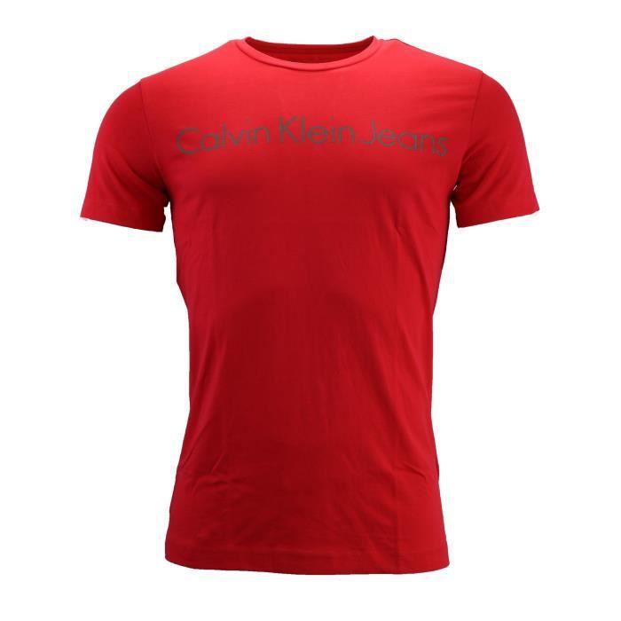d4086ab79cf1d T-shirt Rouge manche courte Calvin Klein Jeans (Rouge - XL) Rouge ...
