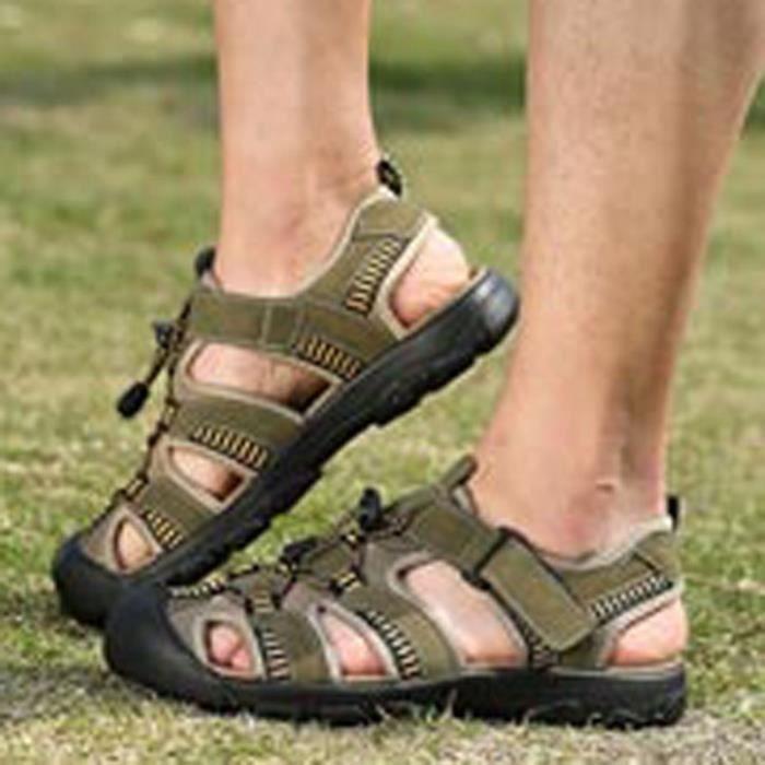 Clair Grandes 3 Couleur Vert Mode Soild Sandales Taille marron Chaussures Foncé Clair Homme Jeunes marron Extérieur qPdwfxxCI