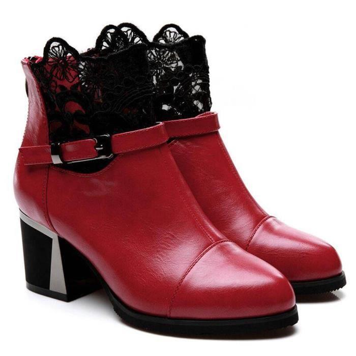 Sidneyki®Femmes dames en métal boucle Zip Plaid dentelle Chunky bottes mode chaussures confortables rouge XKO95