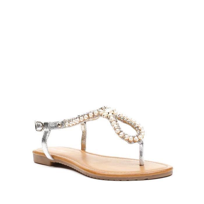 Fantaisies Perles Plates Sandales De Strass Et Incrustées Soleda TFKJu135lc