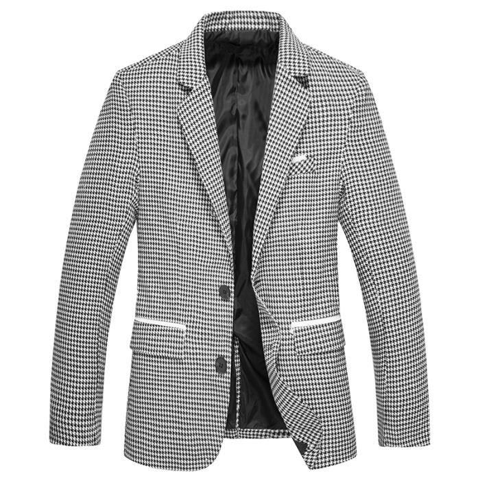 49ecce41cb393 Veste de costume pour hommes, Pied de poule,Slim Fit 2 boutons Vert ...