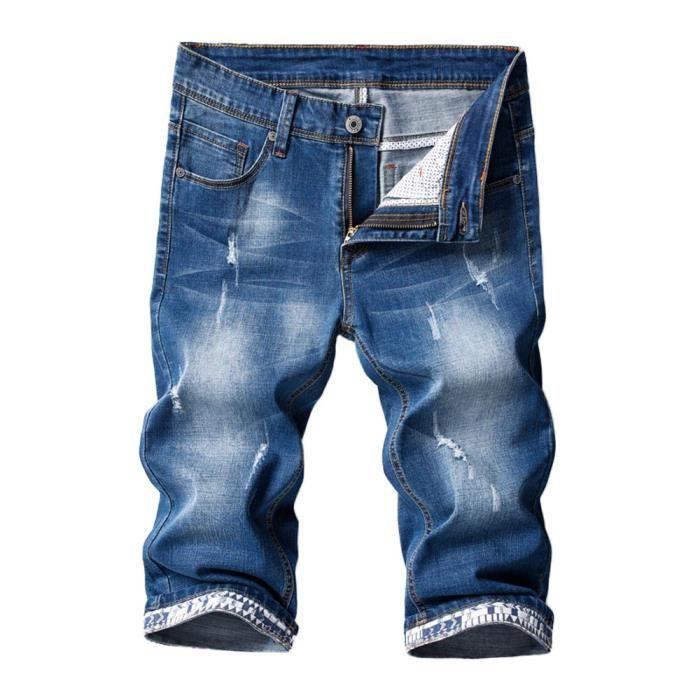 best sneakers 5c0cf 6916c pantacourt-en-jean-homme-dechire-slim-fit-pantalon.jpg