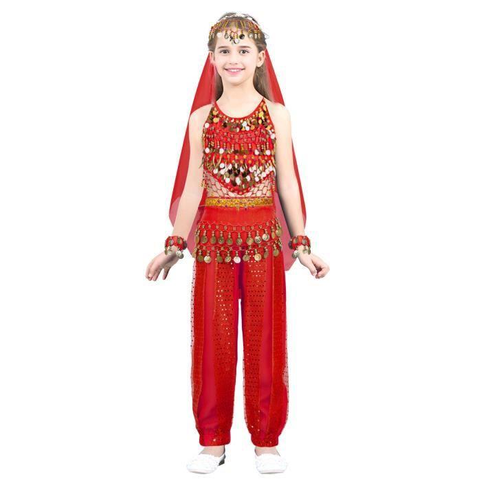 86cc739ad95 Jupe de Danse Inde Fille Enfant - Robe de Danse Orientale Satin Vêtements  de Danse Paillettes Costume Carnaval Fête Performance