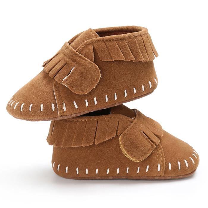 BOTTE Chaussures bébé garçon fille nouveau-né crèche chaussures à semelle souple@Brown
