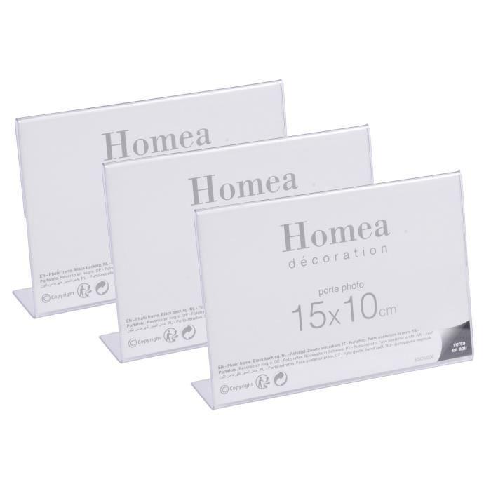 Lot de 3 porte-photos à poser Homea 15x10 cm transparent