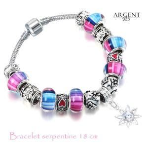 BRACELET - GOURMETTE 18 CM Bracelet Style Pandora Charm Fleur Argent 92