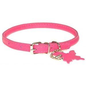 COLLIER Dogline Collier en cuir pour chien Rose Taille S 3