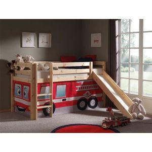 pino lit enfant mezzanine toboggan nature fire achat vente lit mezzanine pino lit mezzanine. Black Bedroom Furniture Sets. Home Design Ideas