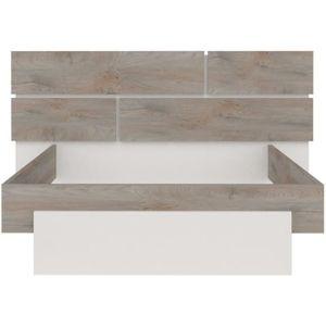 STRUCTURE DE LIT Cadre + Tête de lit 160*200 Chêne délavé/Blanc mat