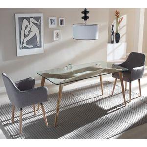 TABLE À MANGER SEULE Table de repas Verre - SAMBA - L 160 x l 90 x H 76