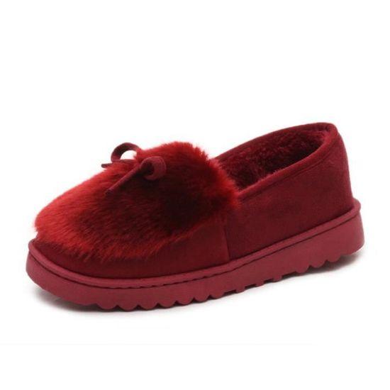 Chaussures Femme Hiver Peluche fond épaisé Chaussure ZX-XZ065Rouge39 Rouge Rouge - Achat / Vente escarpin