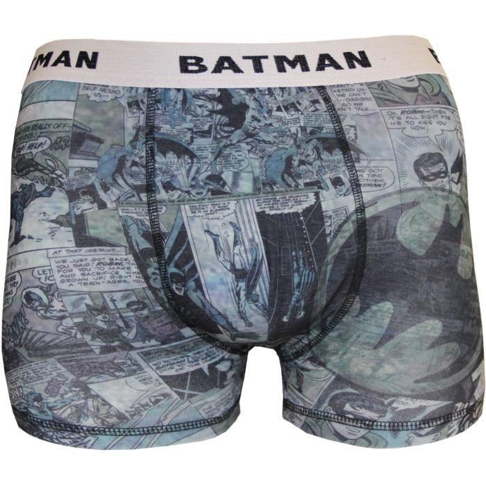 Boxer Homme Batman Imprimé DC Comics - Gris, noir et bleu