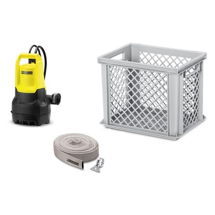 Kit incluant une pompe, un tuyau d'évacuation et une caisse de rangement - 500 W - Débit max : 9500 L/h.POMPE ARROSAGE - POMPE D'EVACUATION - ARROSAGE INTEGRE