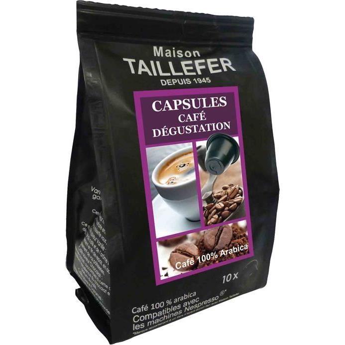 Lot de 10 sachets de 10 capsules Café Dégustation MAISON TAILLEFER