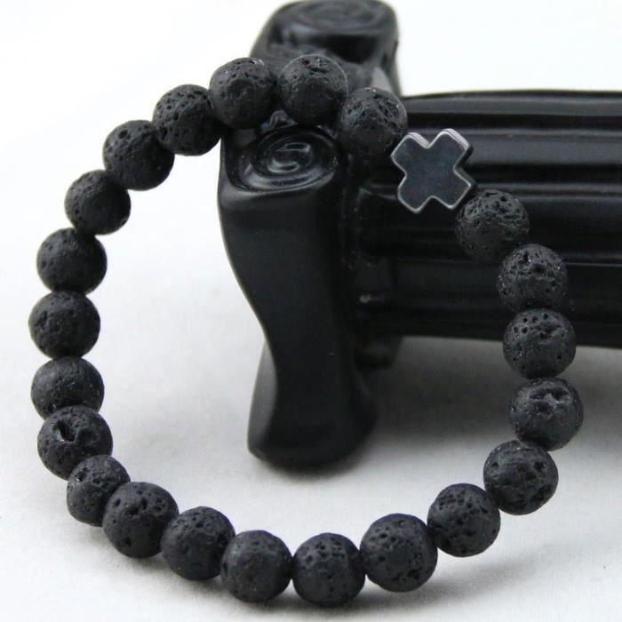 bracelet pierre de lave achat vente pas cher cdiscount. Black Bedroom Furniture Sets. Home Design Ideas