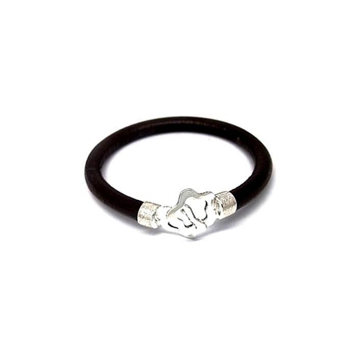 Bracelet loi motif en cuir argent 925m étoiles [AA9897]