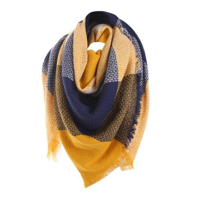 6d54ad668cc7 Femme coloré point long Cachemire châle cou écharpe jaune  Z1729-HCM70824172YE 1001