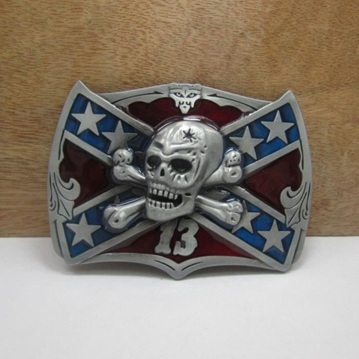 Étoiles Drapeau Evil skull bones Lucky 13 rebelle confédéré boucle de  ceinture de métal de combat 63016738deb