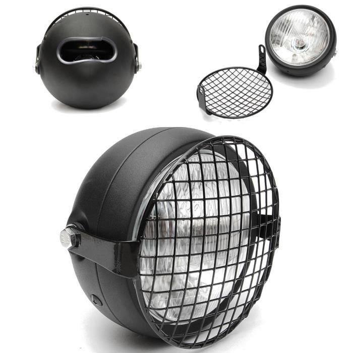 phare moto grille grillge protection noir pour cafe racer bobber old school achat vente. Black Bedroom Furniture Sets. Home Design Ideas