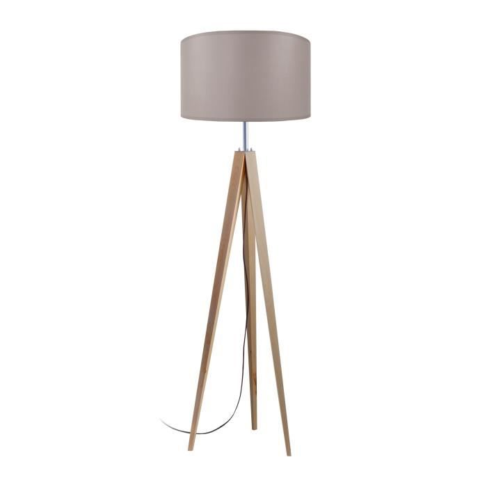 LAMPADAIRE IDUN Lampadaire trépied en bois naturel - Ø50 x H.