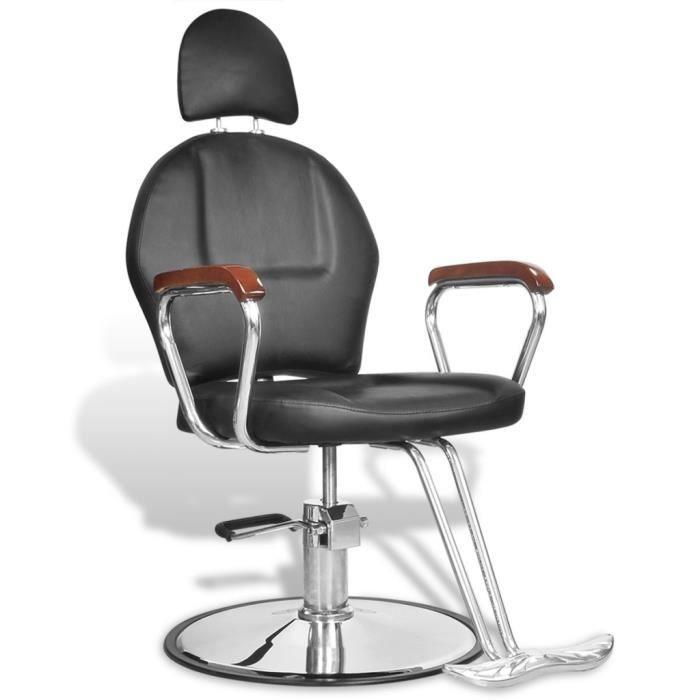 Fauteuil De Coiffure Professionnel Reglable En Similicuir Noir Rotation A 360 Degres Avec Appui Tete Pour SPA Salon Beaute