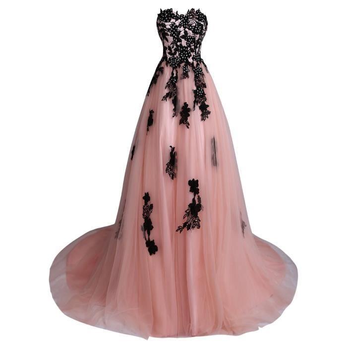b525b858640 Robe de soirée bal de promo bustier en cœur longue traîne moyenne tulle  avec motifs appliques-pétale de rose