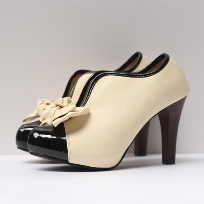 Chaussures à talons hauts à noeud Sexy femmes Beige Plateforme talons hauts