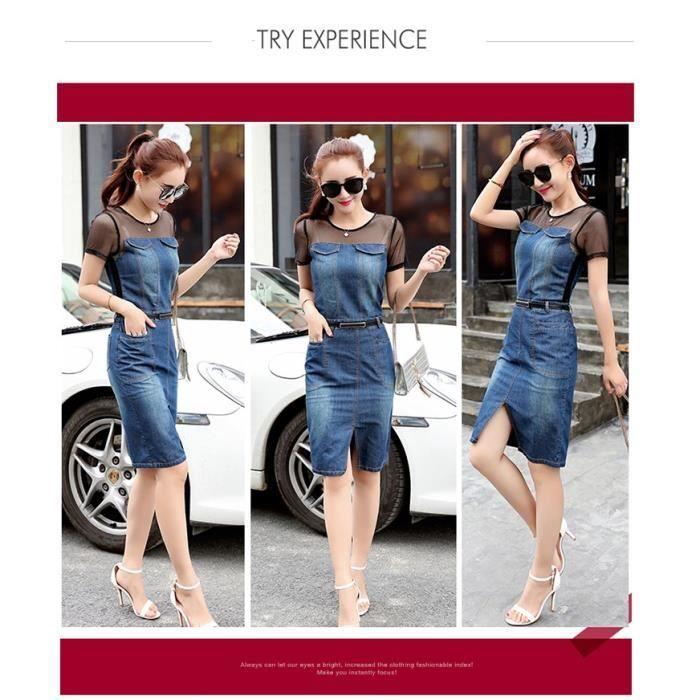 Printemps et été Nouvelle version coréenne Vêtements pour femmes Filé net Couture Jupe denim Sexy Pains Long bi Robes de Cowboy